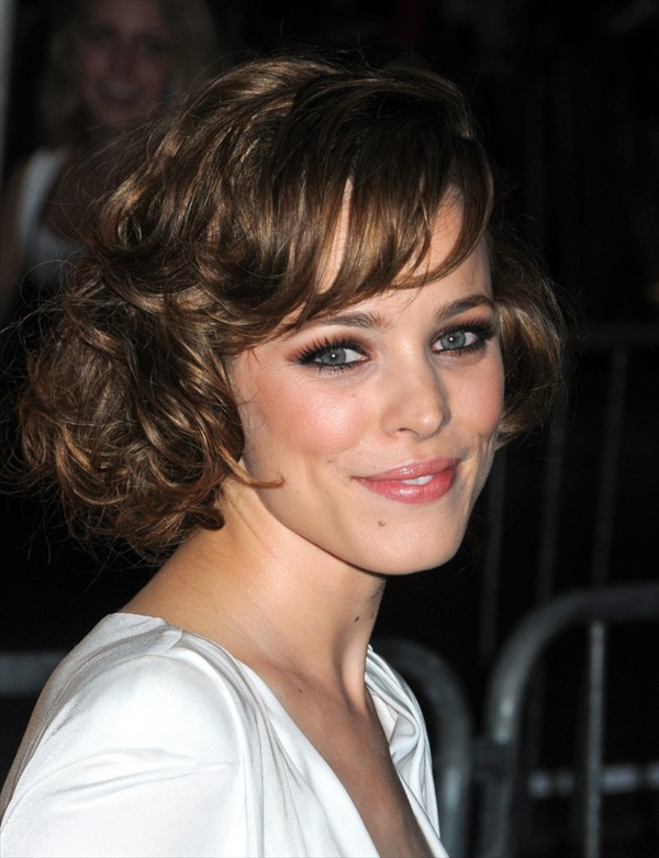 Medium curly hairstyles with fringe hair
