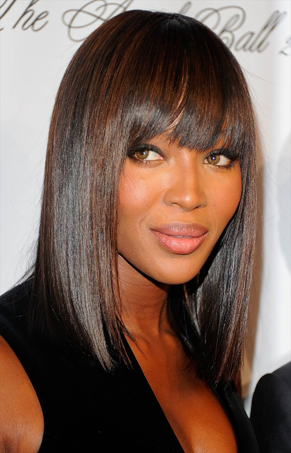 Long Bob Hairstyles with Bangs Black Women