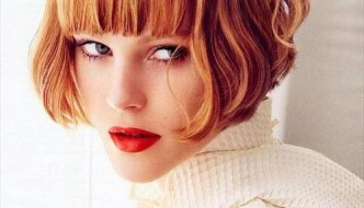 modern bob hairstyle with bangs