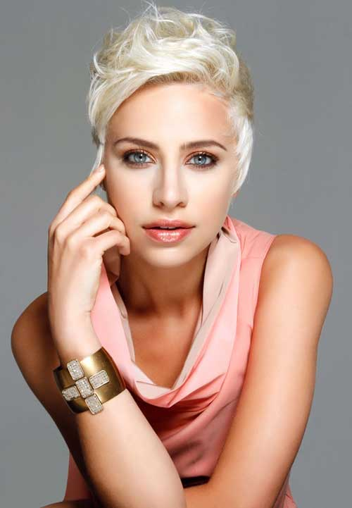 There is another short trendy hairstyle with uneven length of hair and ...