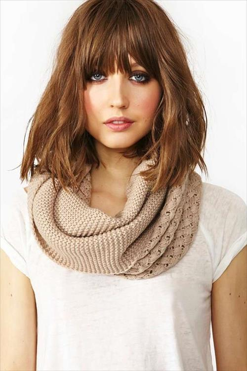 medium bob hairstyle with bangs for girls