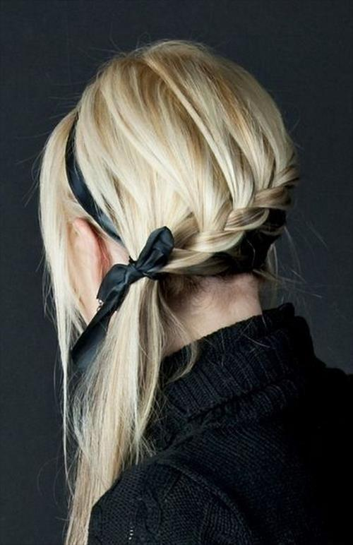 trendy ribbon braid hairstyle