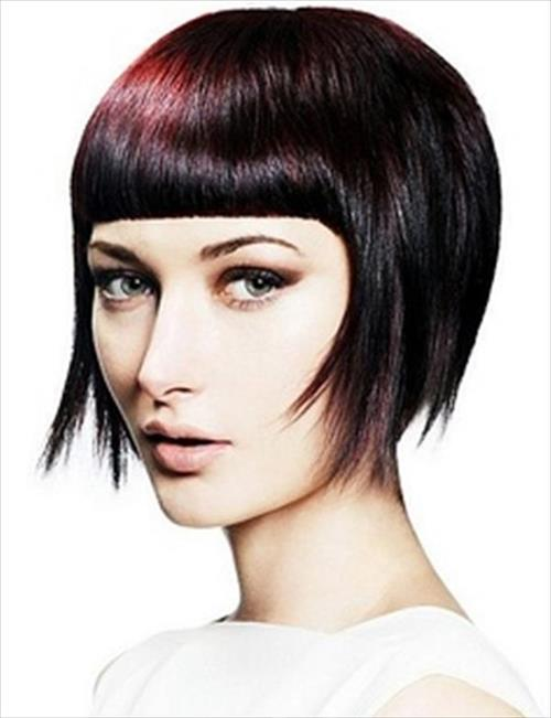 short straight hairstyle with bangs